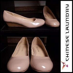 Shoes - New!! Glossy Nude Wedged Flats sz 7